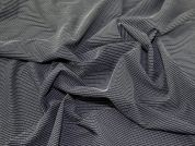 Portuguese Poly Viscose Stretch Pinstripe Suiting Dress Fabric  Black & White
