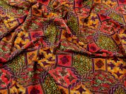 Patterned Viscose Challis Dress Fabric  Ruby