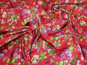 Floral Faux Suede Fabric  Raspberry