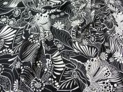 Italian Stretch Polyester Dress Fabric  Black & White