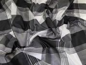 Pure Silk Woven Plaid Check Dress Fabric  Black & White