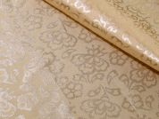 Floral Weave Stretch Satin Dress Fabric  Beige