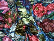 Floral Burn Out Stretch Velvet Dress Fabric  Multicoloured