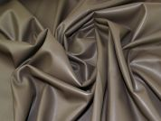 Fur Backed Faux Leather Fabric  Taupe / Grey