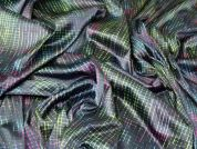 Italian Abstract Print Textured Stretch Sateen Dress Fabric  Multicoloured