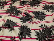 Linen Viscose Fabric  Pink, Black & Cream