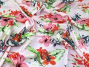 Floral Print Viscose Challis Dress Fabric  Pink