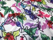 Floral Sketch Print Polyester Chiffon Dress Fabric  Multicoloured