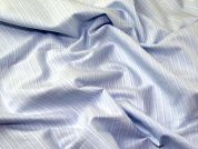 Italian Woven Pinstripe Cotton Shirting Dress Fabric  Blue & White