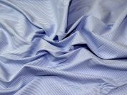 Italian Woven Pinstripe Stretch Cotton Shirting Dress Fabric  Blue & White