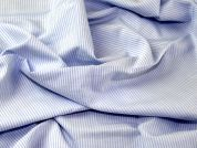 Italian Woven Pinstripe Cotton Shirting Dress Fabric  Sky Blue & White
