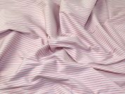 Italian Woven Pinstripe Stretch Cotton Shirting Dress Fabric  Pink & White