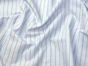 Italian Woven Pinstripe Cotton Shirting Dress Fabric  Sky Blue & Grey
