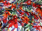 Floral Print Slinky Stretch Satin Dress Fabric  Multicoloured