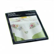 Stitch Garden Stamped Cross Stitch Tablecloth Kit Summer Violas