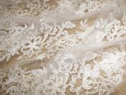 Naomi Corded Embroidery Scalloped Edge Couture Bridal Lace Fabric  Ivory