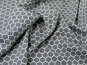 Spanish Honeycomb Bubble Texture Stretch Woven Dress Fabric  Navy Blue & Cream