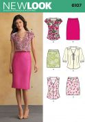 New Look Ladies Sewing Pattern 6107 Blouse Tops & Pencil Skirts