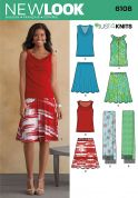 New Look Ladies Easy Sewing Pattern 6108 Jersey Tops, Skirts & Scarves