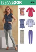New Look Ladies Sewing Pattern 6110 Blouse Tops, Tunics & Leggings