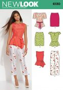 New Look Ladies Sewing Pattern 6130 Peplum Tops, Skirt, Trousers & Belt