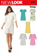 New Look Ladies Easy Sewing Pattern 6145 Knee Length Shift Dresses