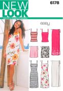 New Look Ladies Easy Sewing Pattern 6178 Dress, Vest Top & Wrap Skirts
