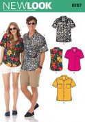 New Look Ladies & Mens Sewing Pattern 6197 Short & Sleeveless Shirts