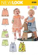 New Look Baby & Toddlers Easy Sewing Pattern 6198 Rompers, Tops & Shorts
