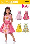 New Look Childrens Sewing Pattern 6202 Circle Skirt Dresses & Sash