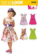 New Look Childrens Easy Sewing Pattern 6205 Pleated Skirt Dresses