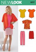 New Look Ladies Easy Sewing Pattern 6217 Kimono Style Jacket, Tops, Skirt & Pants