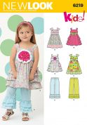New Look Childrens Sewing Pattern 6219 Ruffle Dresses & Pants