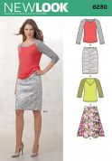 New Look Ladies Sewing Pattern 6230 Tops, Pencil & Flared Skirts