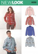 New Look Ladies & Men's Sewing Pattern 6232 Classic Long Sleeve Shirts