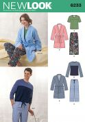New Look Ladies & Men's Easy Sewing Pattern 6233 Pyjamas & Dressing Gown