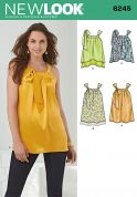 New Look Ladies Easy Sewing Pattern 6245 Loose Gathered Neck Tops