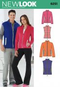New Look Ladies & Mens Sewing Pattern 6251 Fleece Jackets & Gilets