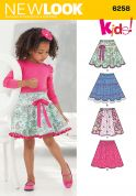 New Look Childrens Easy Sewing Pattern 6258 Circle Skirts with Elastic Waist