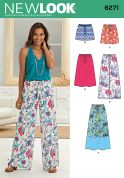 New Look Ladies Easy Sewing Pattern 6271 Drawstring Skirts, Shorts & Pants