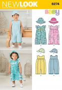 New Look Baby & Toddlers Easy Sewing Pattern 6274 Rompers & Hats