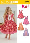 New Look Childrens Easy Sewing Pattern 6278 Full Skirted Dresses