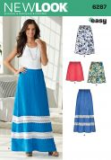 New Look Ladies Easy Sewing Pattern 6287 Elastic Waist Skirts