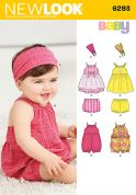 New Look Baby Easy Sewing Pattern 6293 Dresses, Rompers, Panties & Headbands