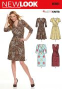 New Look Ladies Easy Sewing Pattern 6301 Stretch Knit Wrap Over Dresses