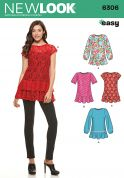 New Look Ladies Easy Sewing Pattern 6306 Tops with Pretty Ruffles