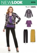 New Look Ladies Easy Sewing Pattern 6315 Stretch Top, Cardigan, Skirt & Trousers