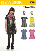 New Look Girls Easy Sewing Pattern 6320 Dresses & Fashion Scarf