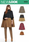 New Look Ladies Sewing Pattern 6324 Cape Coats in 4 Styles