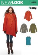 New Look Ladies Sewing Pattern 6325 Asymmetric Casual Coats